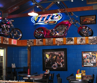 Motorcycles hang from the ceiling at Poopy's in Savanna Illinois