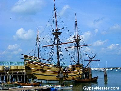 The Mayflower replica in Plymouth, Massachusetts