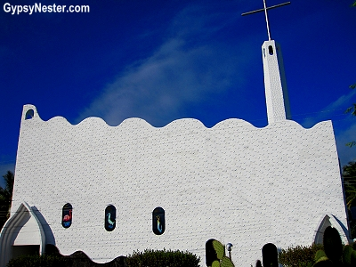 The water inspired church in Puerto Villamil, Galapagos Islands