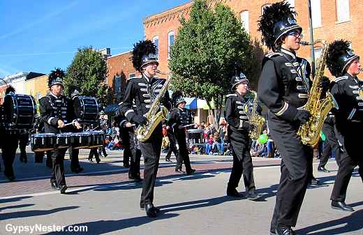 The Northern Illinois University Marching Band in the Pumpkin Fest Parade, Sycamore, Illinois