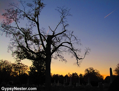 Sunset at Elmwood Cemetery in Sycamore, Illinois
