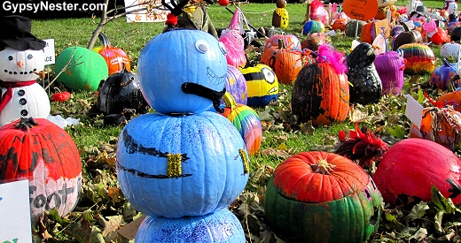 Pumpkins decorated by elementary school kids at the Sycamore Pumpkin Fest in Illinois
