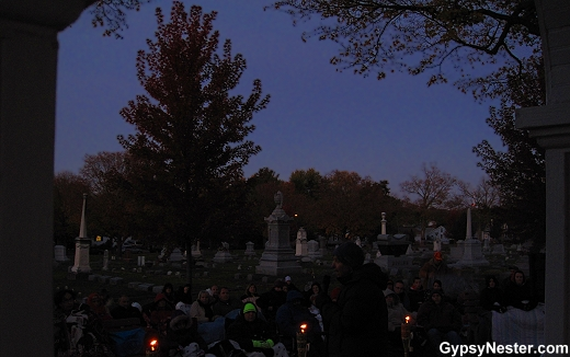 Scary stories in the cemetery at the Sycamore Pumpkin Fest, Illinois