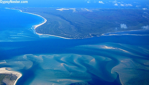 Fraser Island from the air in Queensland, Australia