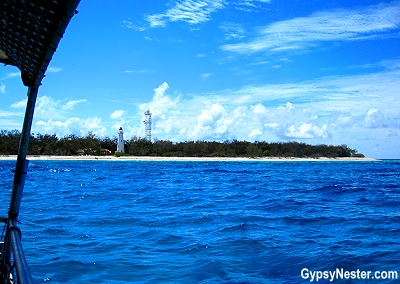 View from a glass bottomed boat near the lighthouse on Lady Elliot Island in Queensland, Australia