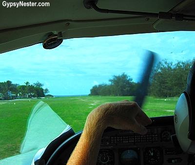 The grass runway on Lady Elliot Island in Queensland, Australia