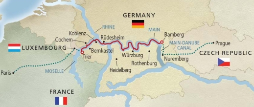 Map of Viking River Cruises' Cities of Light Cruise down the Rhine River