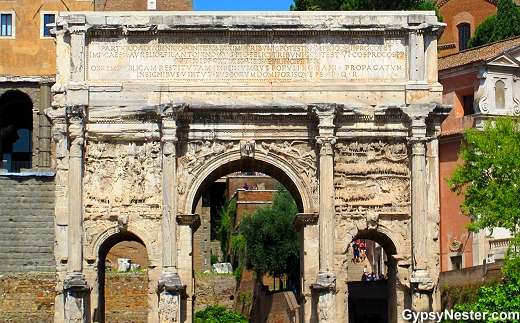 The white marble Arch of Septimius Severus at The Forum in Rome, Italy