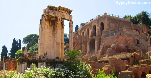 The Temple of Vesta in the Forum of Rome, Italy