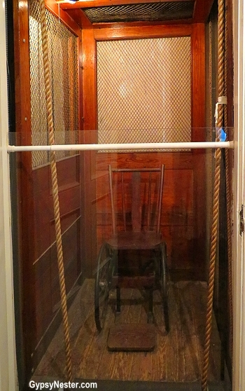 The elevator at Springwood, FDR's home. He pulled himself up with the ropes.