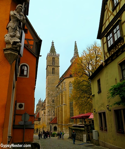 The twin belfries of St. Jakob's Church of Rothenberg, Germany