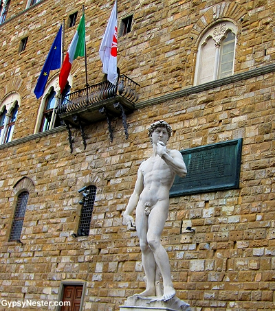 The fake David in Florence, Italy