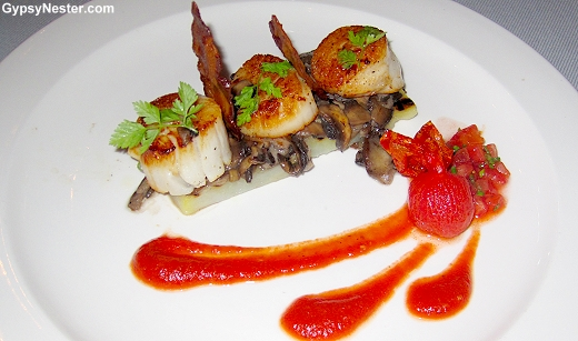 Scallop and bacon appetizer on Royal Princess