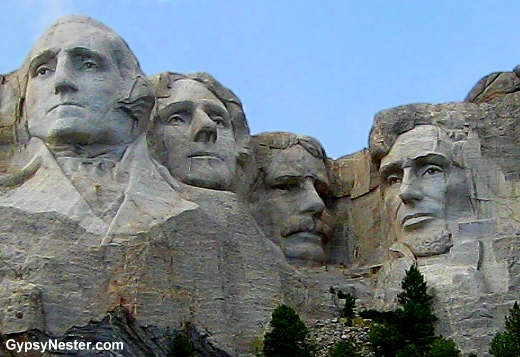 Close up of Mount Rushmore
