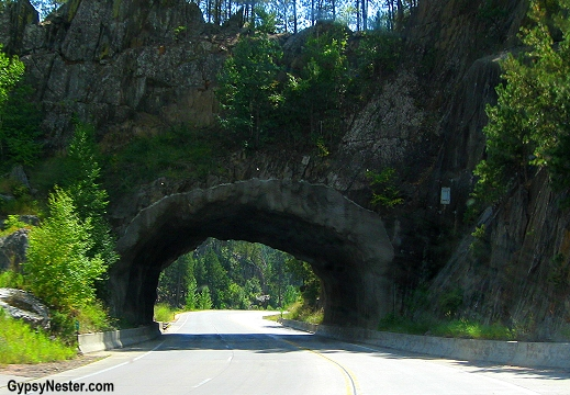 A tunnel through rock on the way to Mount Rushmore