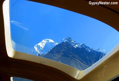The mountain, Veronica, through the dome car window in Peru