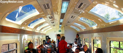 Inside the train to Machu Picchu