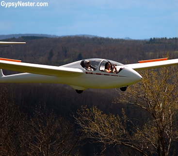 Veronica soars above the Fingerlakes at Harris Hill Soaring in New York