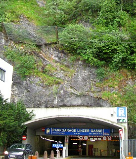 Parking Garage under a mountain, Salzburg Austria