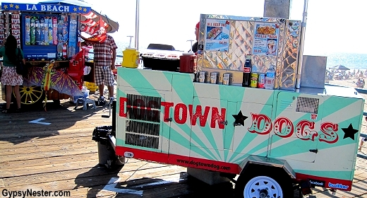 Hot dog cart on Santa Monica Pier