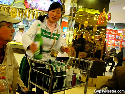 Carts serving beer at Nanxiang Steamed Bun Restaurant in Shanghai China's Old City