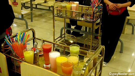 Carts serving drinks at Nanxiang Steamed Bun Restaurant in Shanghai China's Old City