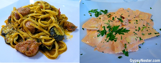 Spaghetti alla Sicliana and Seafood Ravioli in Sicily, Italy - we're loving the food!