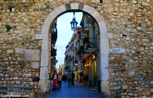 Inside the ancient walls, Taormina, Sicily thrives as a major destination for tourists from all over the world.