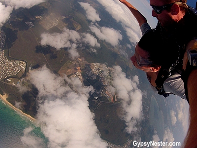 Arm position while sky diving at SkyDive Ramblers, Queensland, Austraila