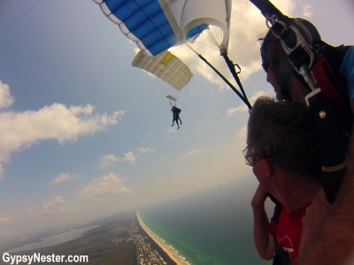 David watches as I parachute over Queensland, Australia with SkyDive Ramblers