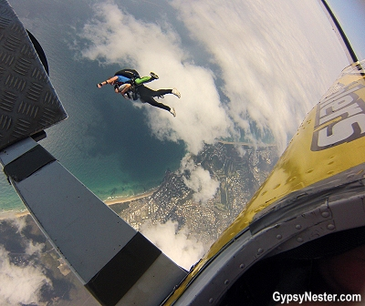 The initial jump over Queensland, Australia on the Sunshine Coast with Skydive Ramblers