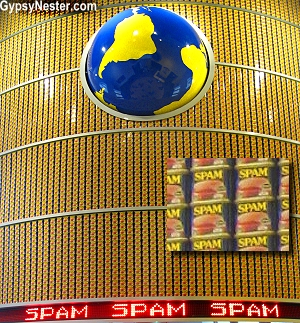 Three thousand Spam cans are stacked at the entrance of The Spam Museum