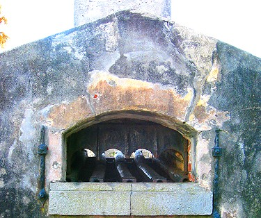 Furnace where cannonballs were heated till they glowed red hot