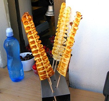 Waffle on a stick in Prague, Czech Republic