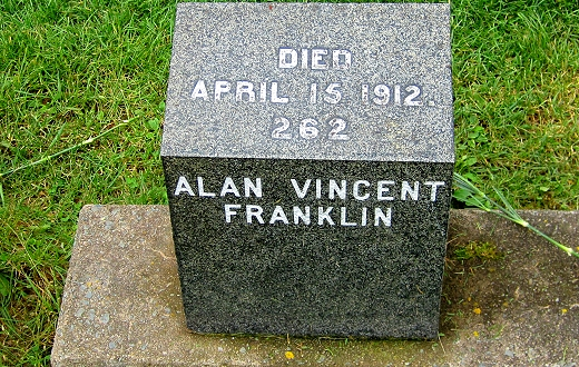 The grave of Alan Vincent Franklin, a victim in the Titanic sinking, Halifax, Nova Scotia