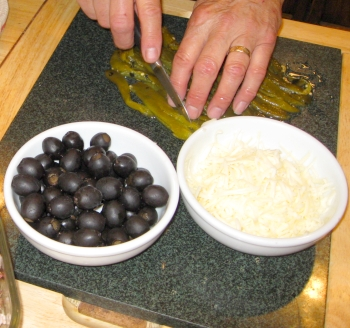 Green Chilies, olives and cheese