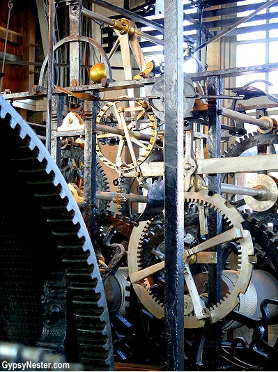 The clockworks in the belltower of Bruges, Belgium