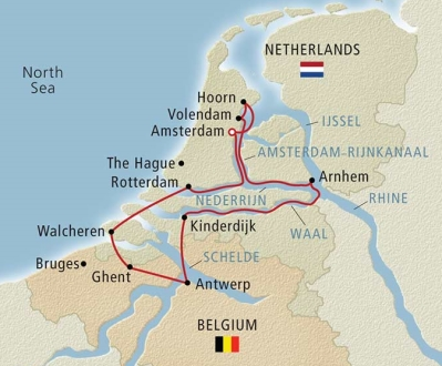 Map of the Tulips and Windmill cruise with Viking River Cruises