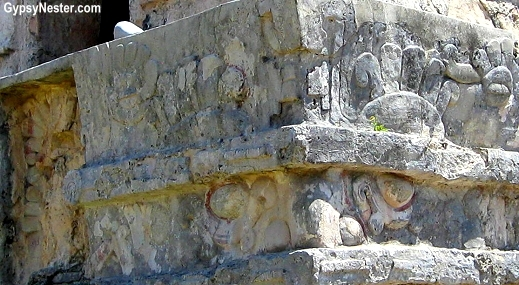 Exterior on the Temple of the Frescos, Tulum Mexico