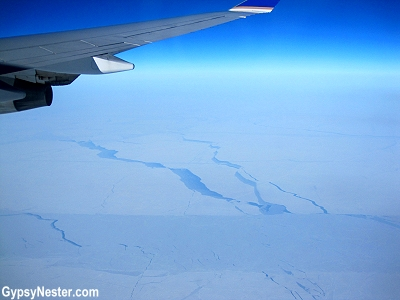 Ice floes in the Arctic Ocean seen from an airplane, United Flight from Chicago to Hong Kong
