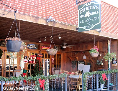 Patrick's Pub & Grill, half the bar is in a dry county!