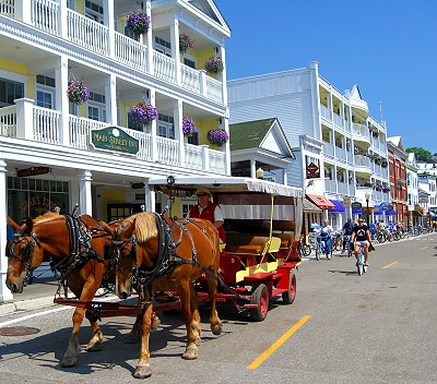 Folks rely on horse drawn carriages to get around on Mackinac Island in the Upper Peninsula of Michigan!