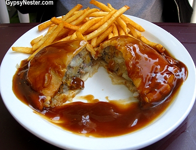 Pasty with gravy in the Upper Peninsula of Michigan