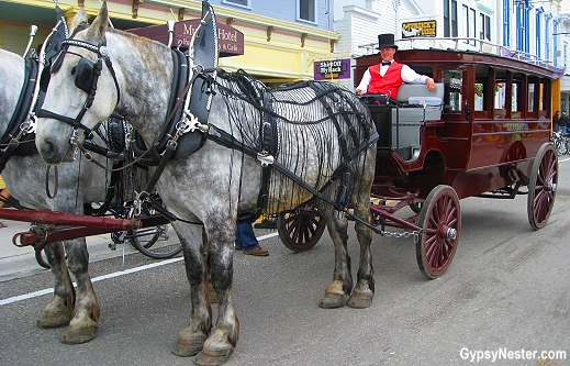 Horse drawn carriage from the Grand Hotel on Mackinac Island in the Upper Peninsula of Michigan