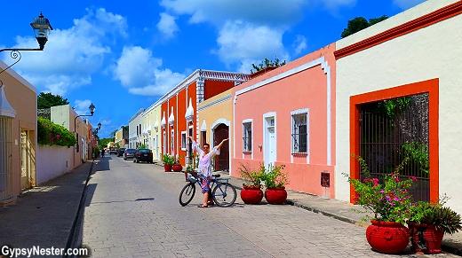 Riding bikes in Valladolid, Mexico