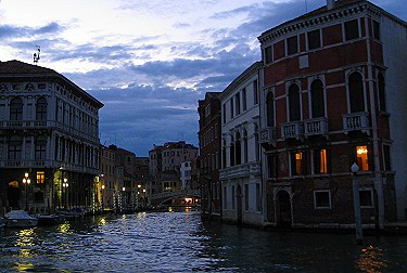 Venice at night from the water