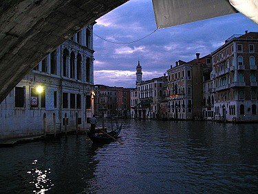 The Grand Canal at night from the water bus