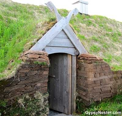 Door into the long house at L'Anse aux Meadows Viking Landing Site, Newfoundland