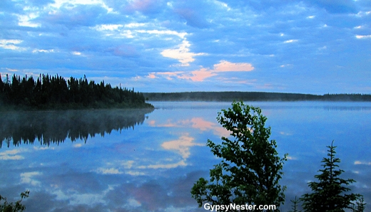 The view from the Tuckamore Lodge in the tiny town of Main Brook, Newfoundland