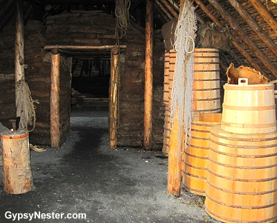 Inside the long house at L'Anse aux Meadows Viking Landing Site, Newfoundland